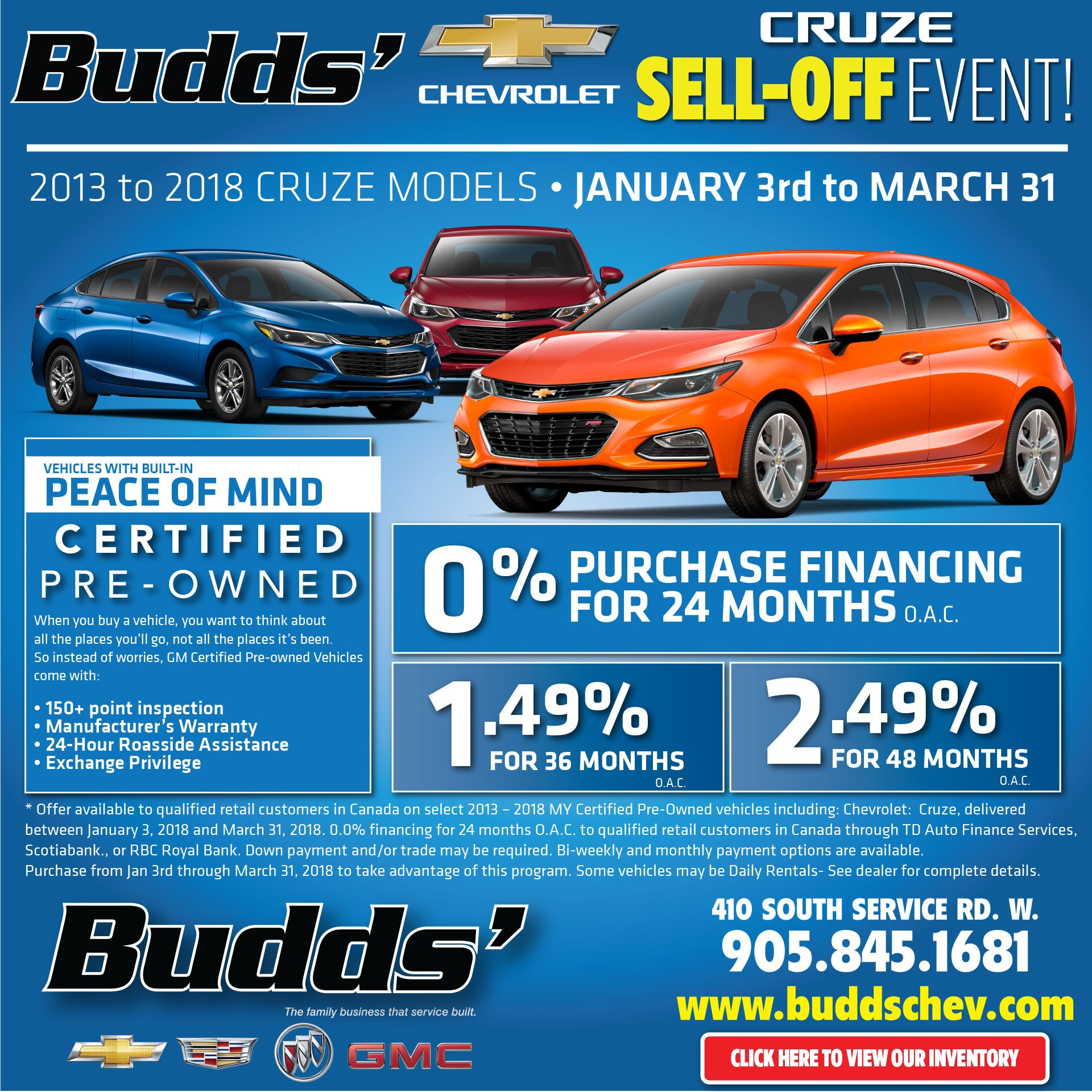 Cruze Sell Off Event